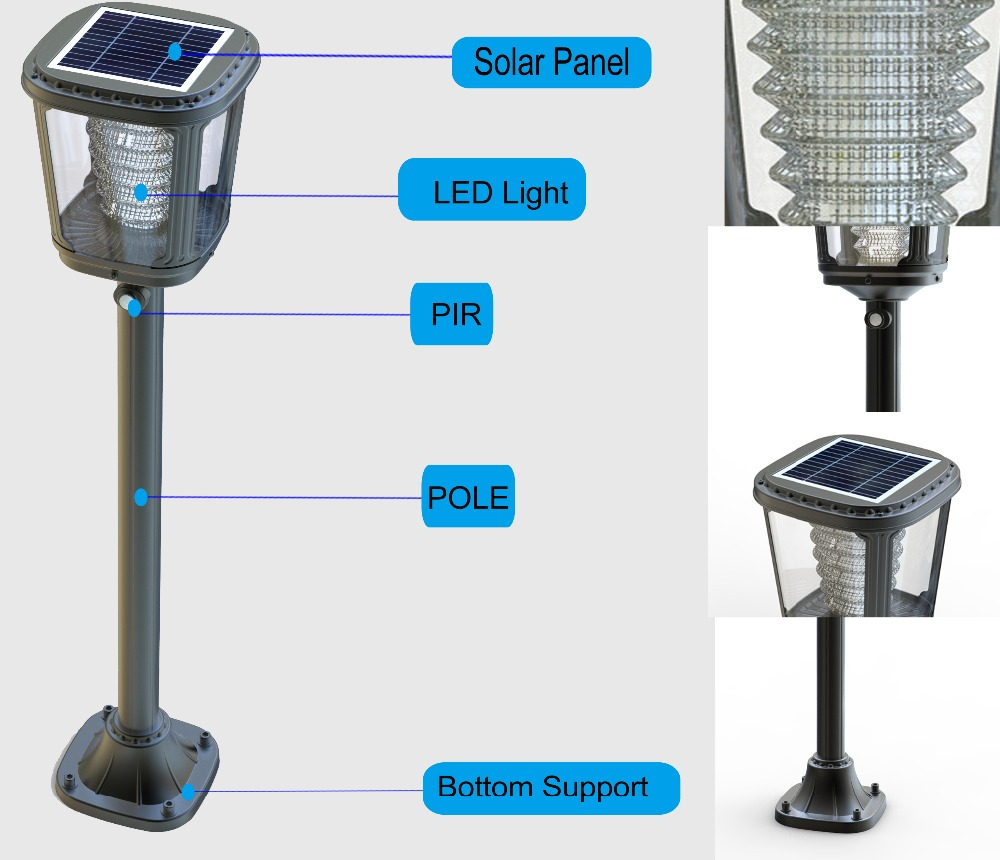 4 Foot Outdoor Solar Powered Lamp Post With: Solar Powered Outdoor Lamp Post Lights,Garden Lawn Lamp
