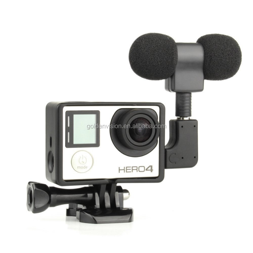 For Gopro Microphone, 3.5mm Plug Mini Stereo Microphone with Standard Frame for gopro 3/3+/4