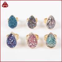 Gold Plated Teardrop Rainbow Titanium Druzy Ring High Quality Gemstone Agate Druzy Ring