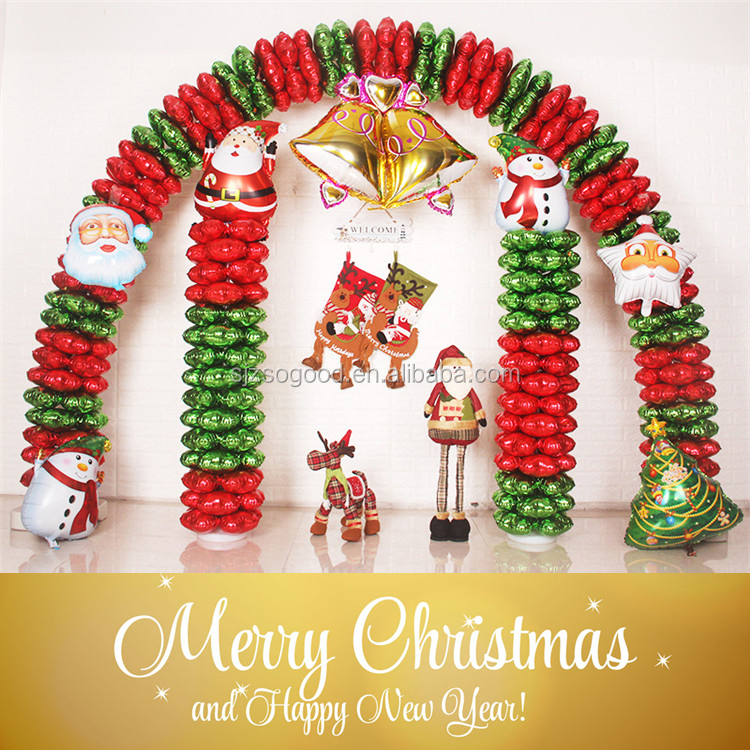 Merry Christmas Decoration Green Red Color Foil Column Balloon Arch Stand