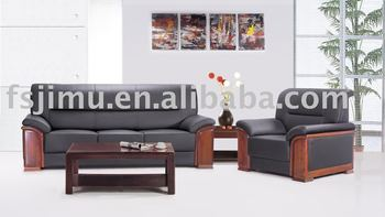 model 503 black real leather sofa office furntiure wooden arms black leather sofa office