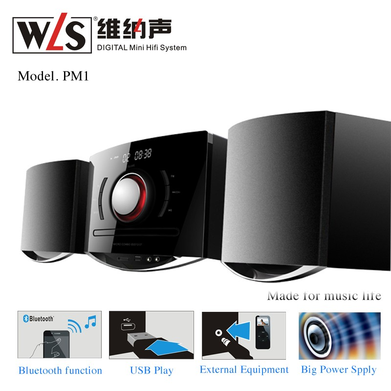 WLS 2.0 CH Micro Mini HiFi System CD components PM1 with Independent Treble and Bass Bluetooth FM Radio Tuner Karaoke Function
