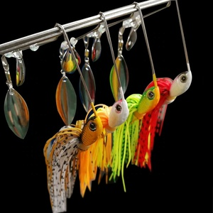 Free sample Silicone skirt spinnerbait blades saltwater lead jig head fishing lure jigging spinner rubber jig buzz bait
