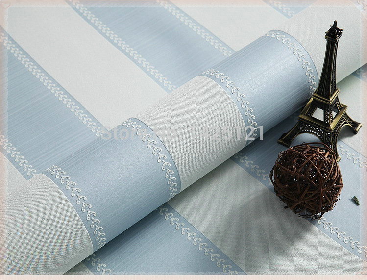2014 Modern vertical striped wall paper non-woven light blue wallpaper cozy living room bedroom backdrop for home decoration pap