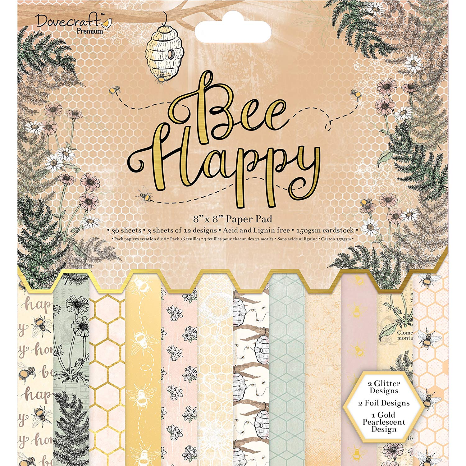 "Dovecraft Premium Bee Happy Paper Craft Collection - 8x8"" Paper Pad"