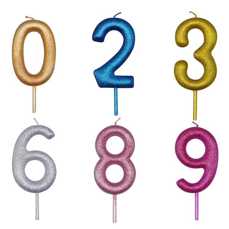 반짝이 멀티 컬러 촛불 생일 파티 장식 0-9 번호 양초 파티 용품