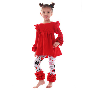 Wholesale valentine boutique clothing ruffle girls clothing sets