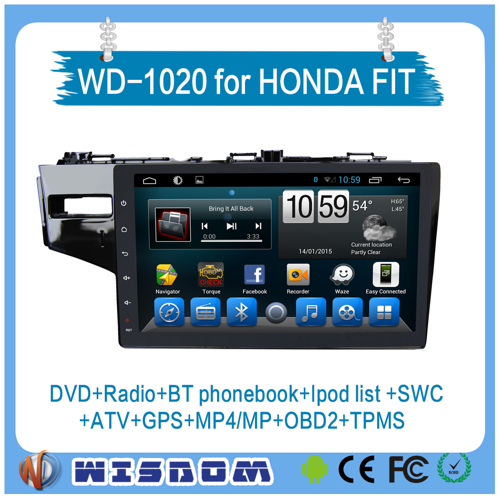 2016 cheapest car dvd gps for Honda fit/jazz android car dvd player with gps ATV SWC 10.1'' touch Screen car radio dvd player