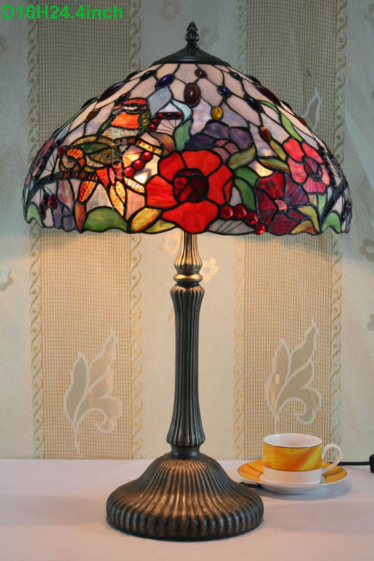 Tops-lighting tiffany coffee cup lamp with stained glass