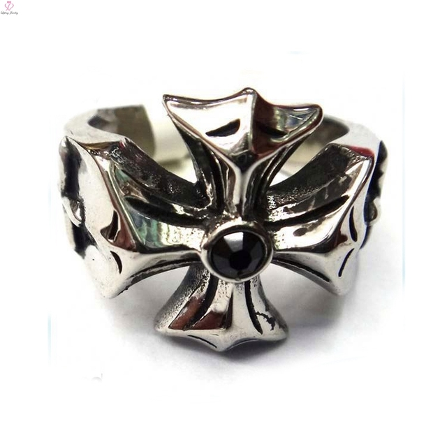 Mens Diamond Skull Wedding Ring Stainless Steel Crown Rings New Enamel