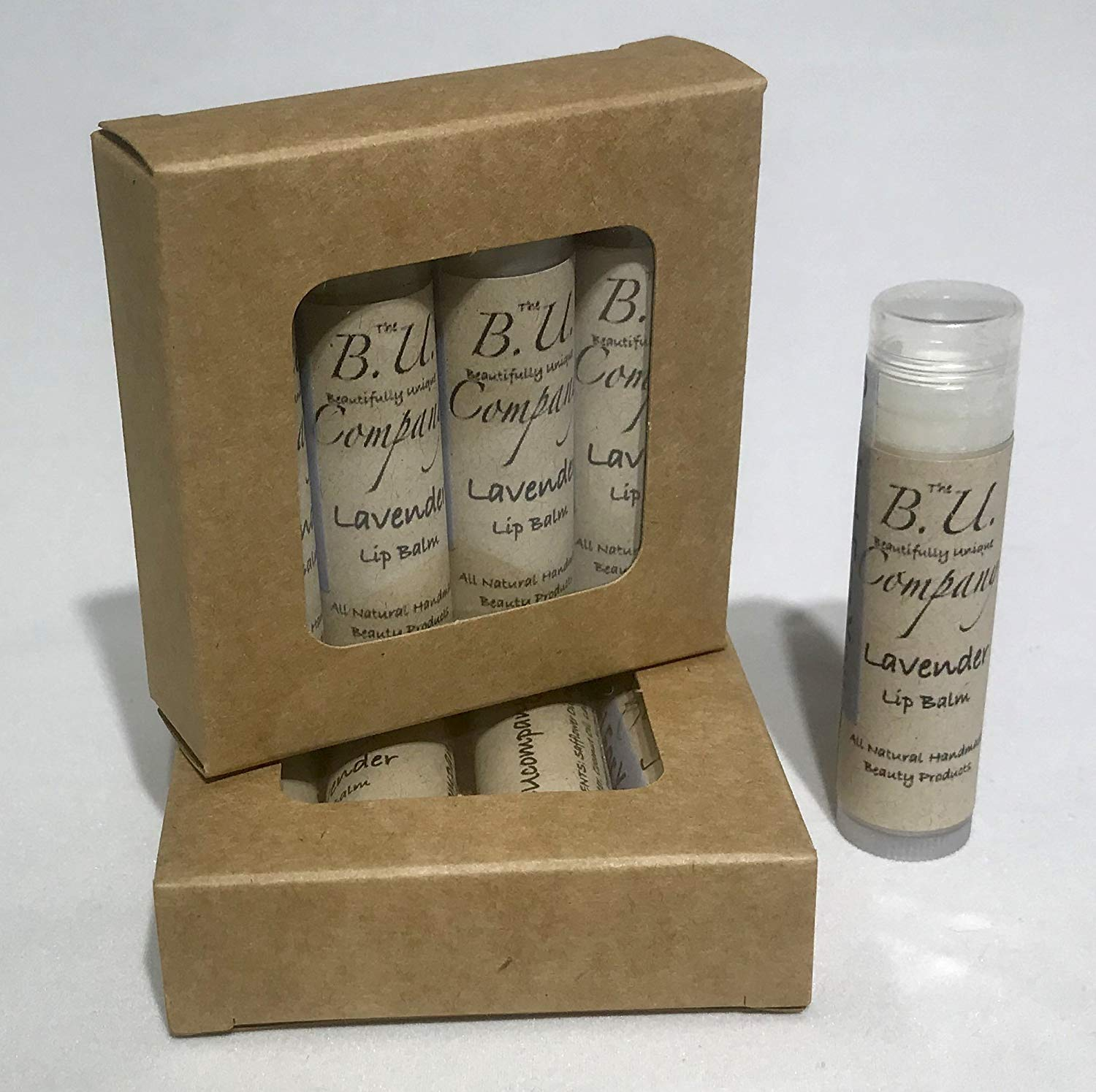 All Natural Lavender Lip Balm - All Natural Handmade - BU Company - 4 pack