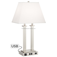 JLT-7006 modern hotel lamps witch electrical outlets dual rocker switch table lamp with usb port