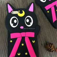 Bulk wholesale low price cute black cat with bow tie silicone silicone mobile phone back cover for iphone 7 case