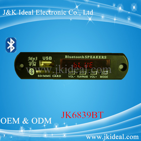 JK6839BT oem embedded mp3 player module with bluetooth line in
