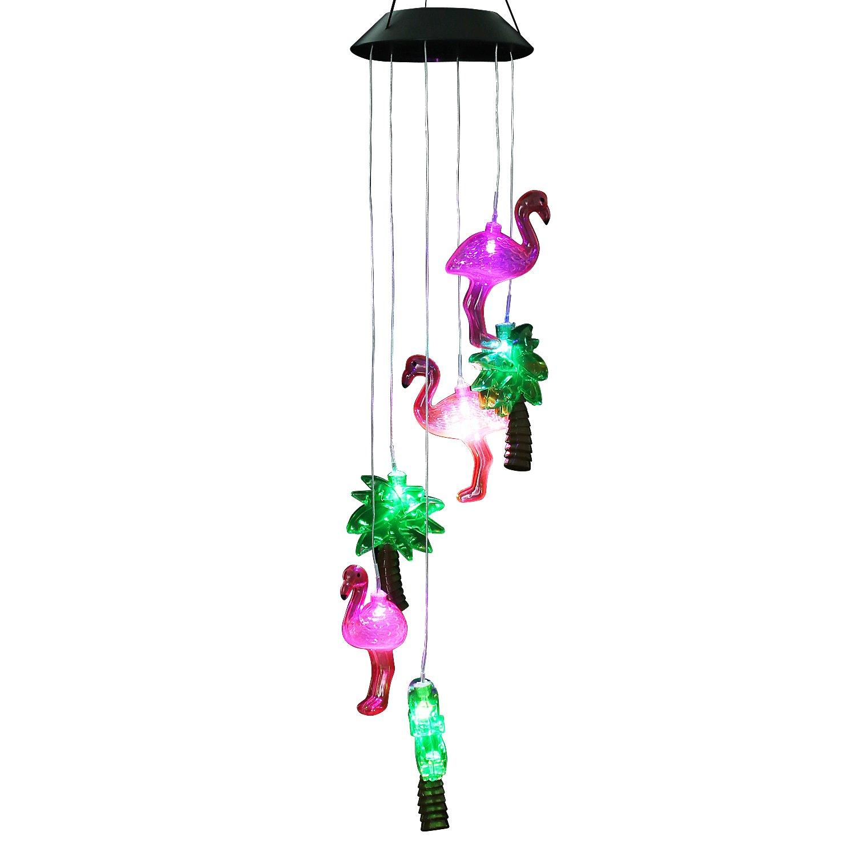 Get Quotations Acelist Changing Color Solar Ed Flamingo Wind Moblie Led Light Spiral Spinner Windchime Portable Outdoor
