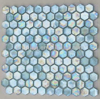 Hot Mesh Backed Hexagon Gl Mosaic Swiming Pool Tile