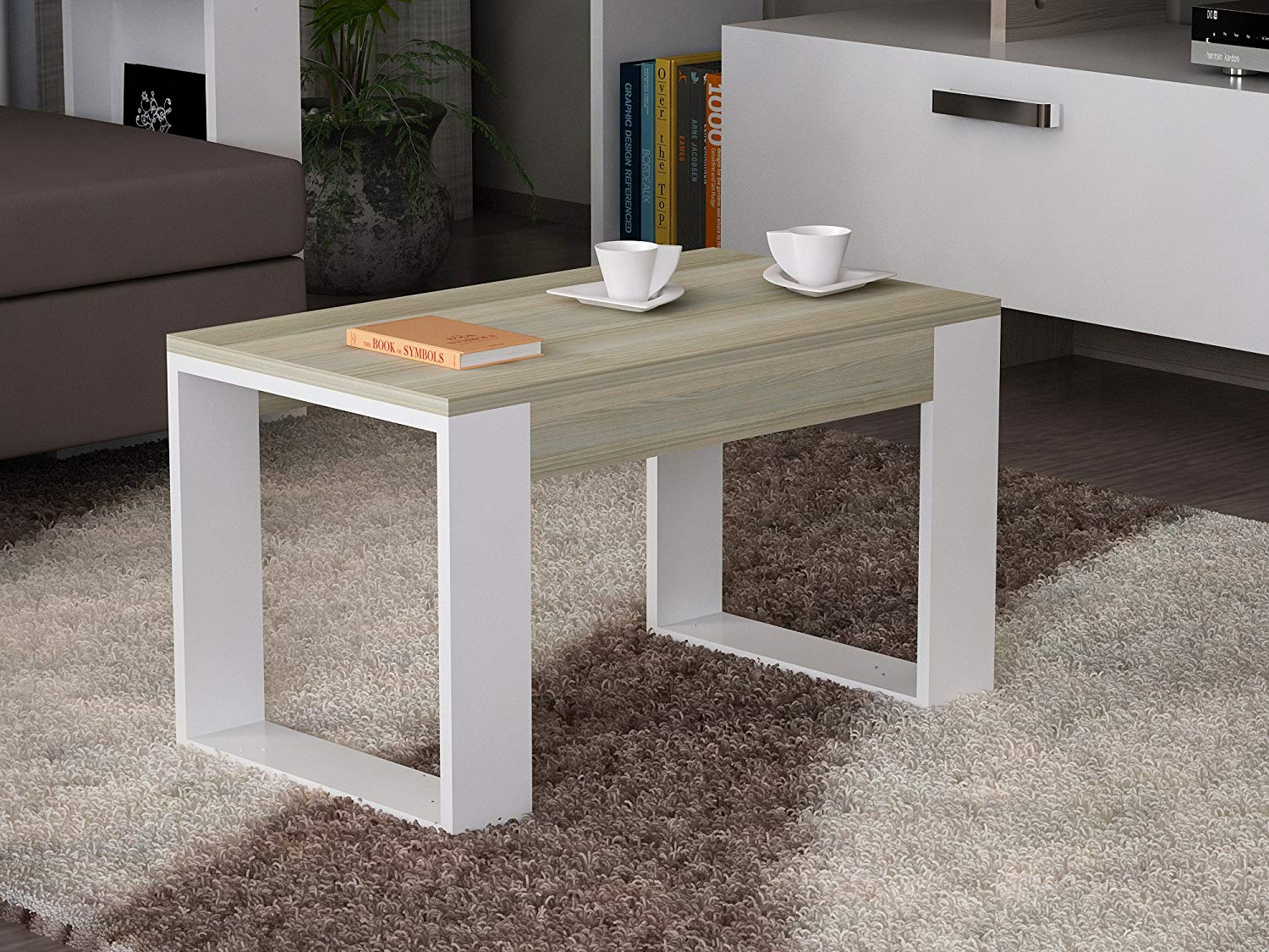 LaModaHome Modern Style Coffee Table - White-Brown Coffee Table Wooden Resistant Table - Cocktail Table with Storage - Best Choice For Quality - For Home, Office, Living Room and More