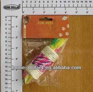 Colorful cat toy rattle spool in sisal fibre and colorful feather