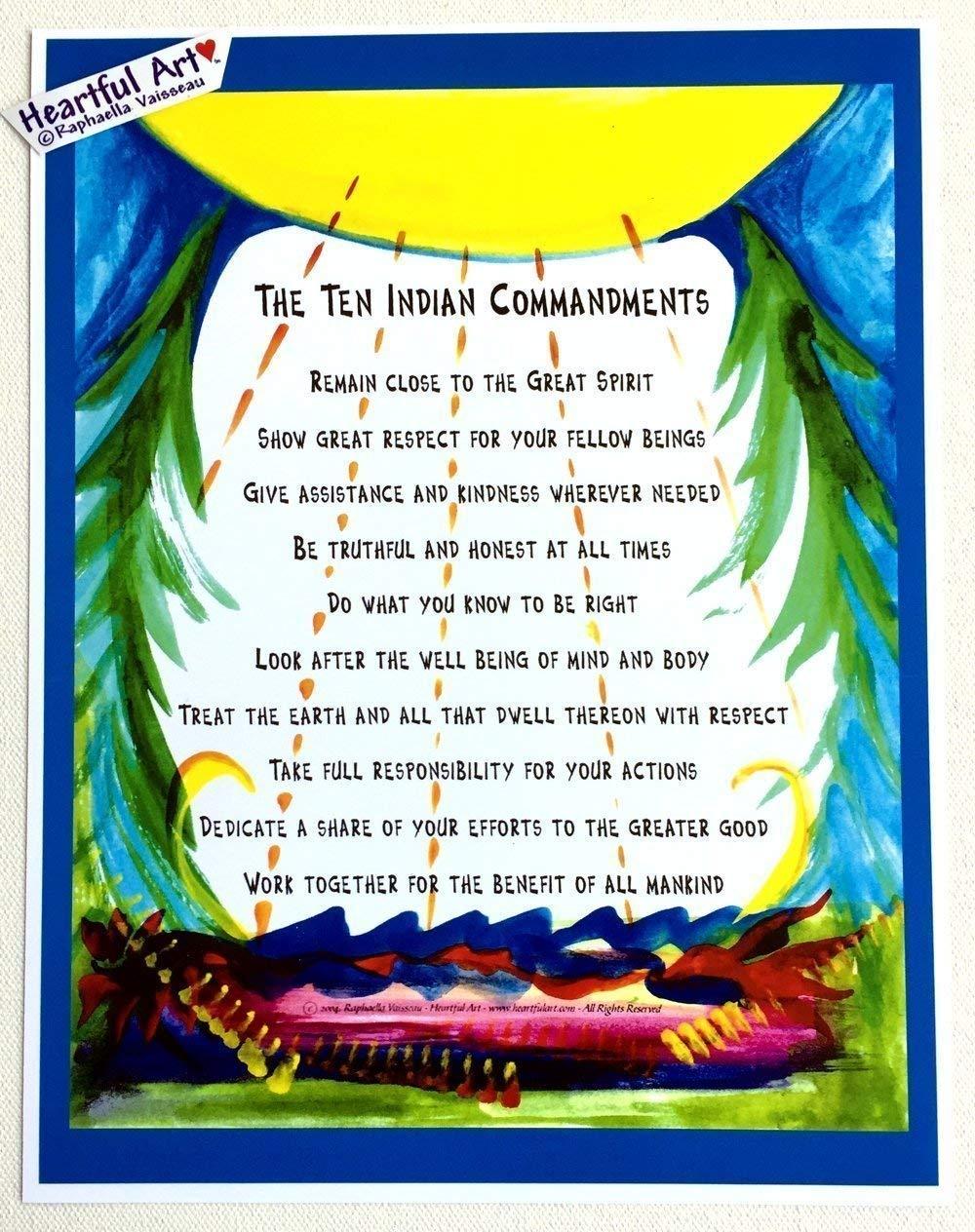 Ten Indian Commandments 8x11 poster - Heartful Art by Raphaella Vaisseau