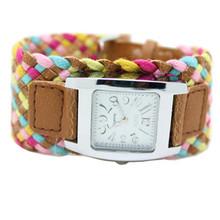 Bohemia multi-colorido tecelagem relógio feminino relógio de quartzo as mulheres se vestem de relógio da forma das senhoras pulseira relógio de presente por atacado
