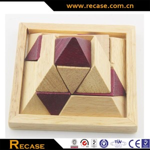 High Quality Educational Chinese Traditional Wooden Toy Solid Wood Pyramid Design 3D Puzzle