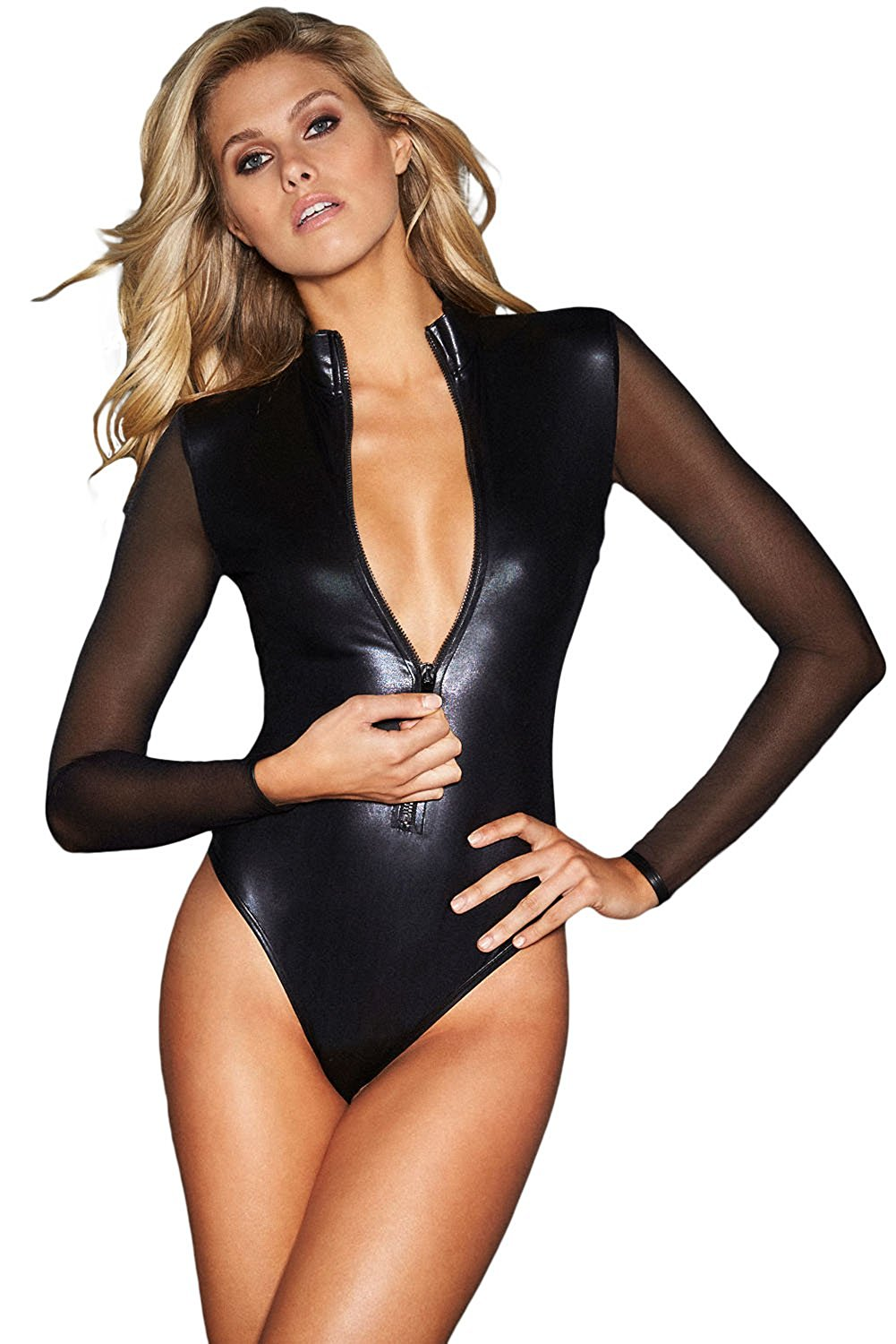 6028484124 Get Quotations · Prime Leader Sexy Black Mesh Long Sleeve Zip Front Leather  Bodysuit For Women