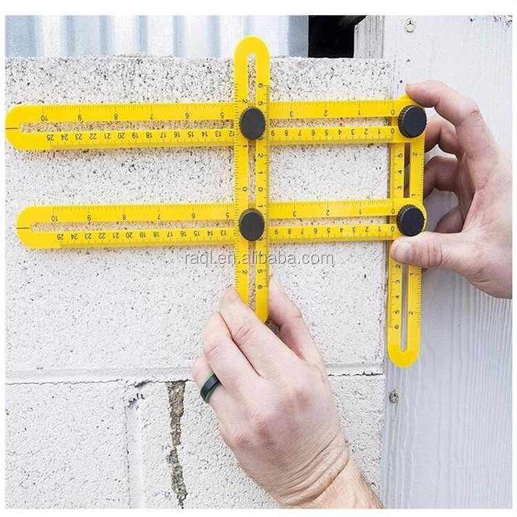 2017Hot product ABS activity Folding Multi-Angle Measuring Ruler Steel Angle Sliding Four Folding Rule