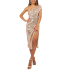 Sequined Sleeveless Mid Dress Rose Gold Fashion Evening Dress for Ladies Hight Split Dresses