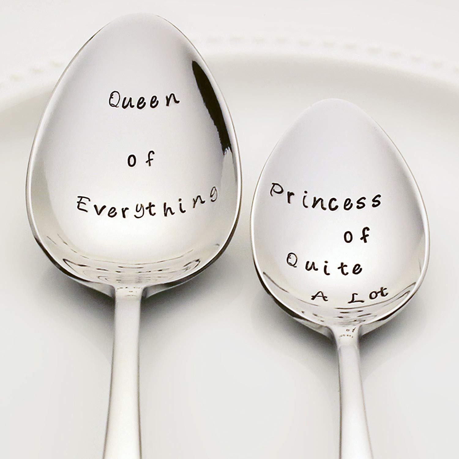 Queen of Everything / Princess of Quite A Lot - Stainless Steel Stamped Spoon Set of 2 | Stamped Silverware | Kitchen Gifts for Mom | Mother and Daughter Valentine Gift Set