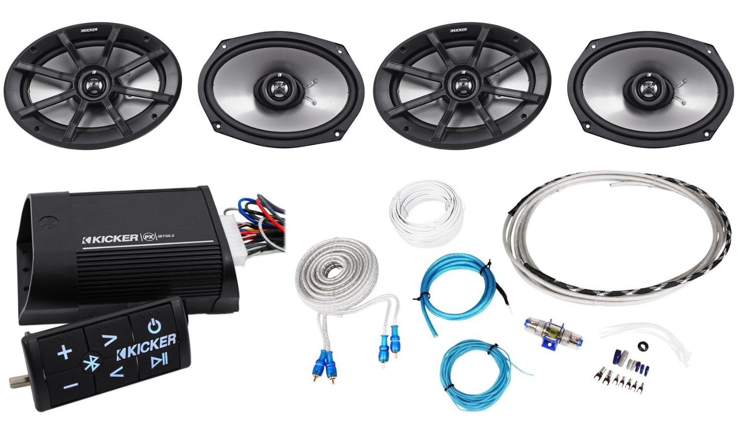 """Package:(2Pairs)Kicker 40PS692 6x9"""" 180W Peak/90W RMS 2-Ohm ATV/Motorcycle Speakers+40PXIBT502 Motorcycle & ATV 2-Channel Bluetooth Amplifier+Remote+Waterproof Marine/Boat Amp Wire Installation Kit"""