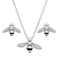 sterling silver pendant necklace bee jewelry set
