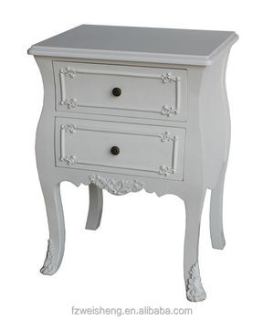 French Provencial Style 2 Drawer Bedside Table End Nightstand Side Cabinet