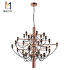 Chinese Lighting Factory Simple 30 Heads Big Modern Pure Colour Glass Chandelier