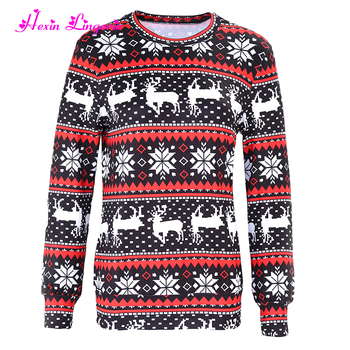 hot selling loose christmas pattern blouse ladies latest design sweatshirt tunic tops
