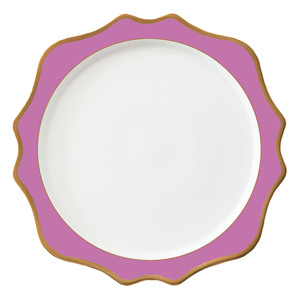 Hot sale hotel wedding use deep pink purple ceramic porcelain charger plates wedding events