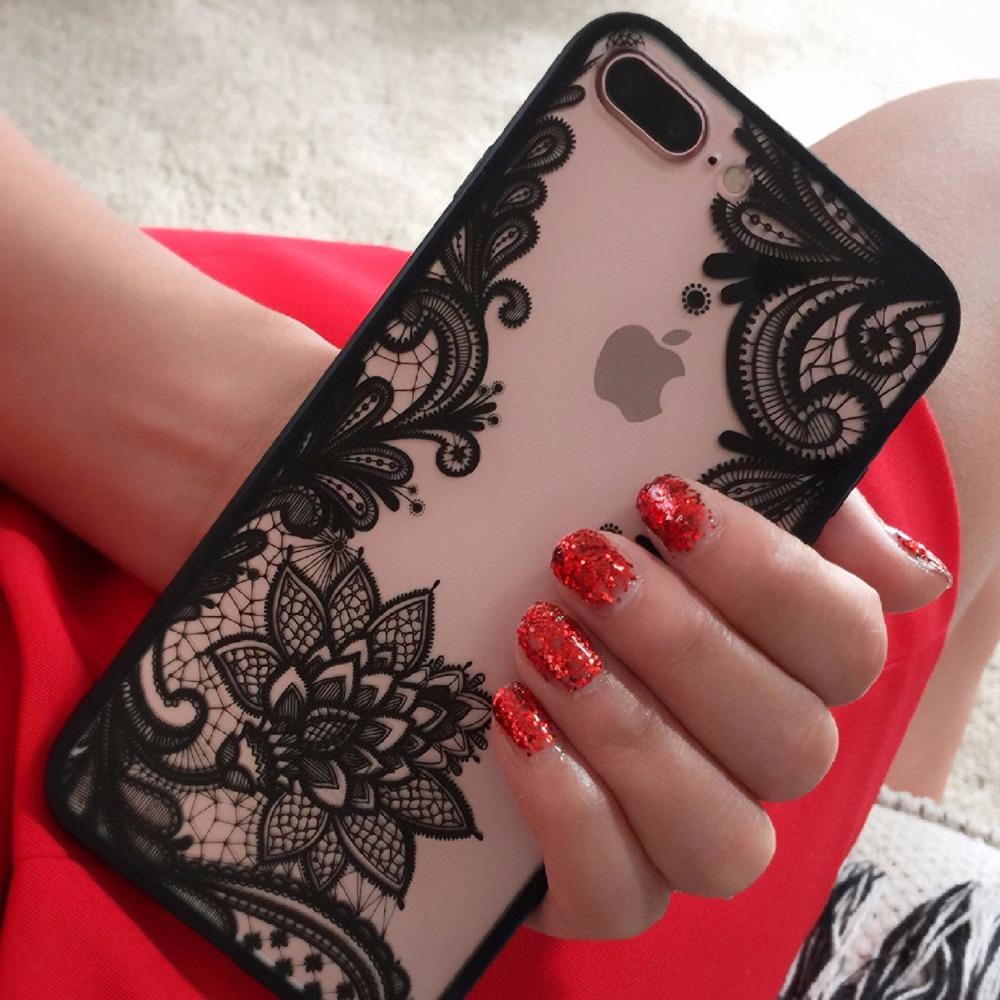 Noir Couleur Henné Paisley Mandala Fleur Dur + Tpu PC Cas pour Apple Iphone