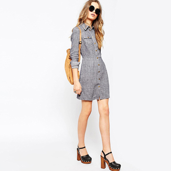 Fashional Women Clothes Long Sleeve Shirt Dress Gray Office Lady