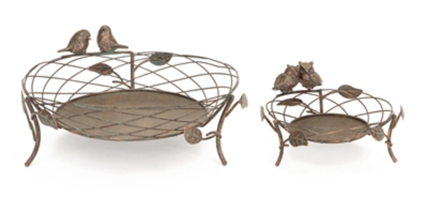 """Pack of 2 Antique-Style Bronze Birds and Owls Pillar Basket Candle Holders 12"""""""