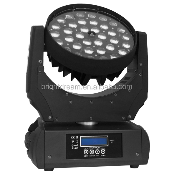 Led light <strong>source</strong> 36x18w 6 in 1 rgbwy uv led moving head wash zoom led stage light for party night club bar