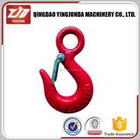 Eye Hoist Hook With Latch, self colored, painted or zinc plated