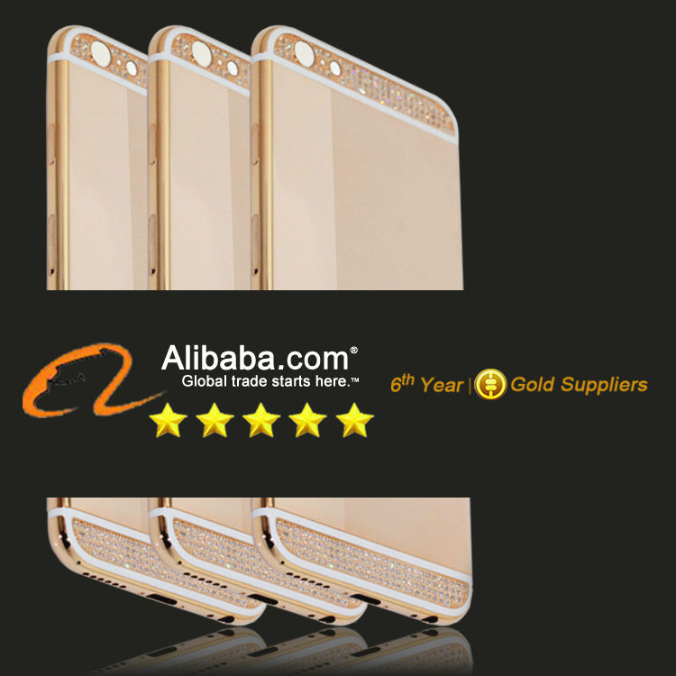 For iphone 6 rose gold diamond housing back cover full housing kit