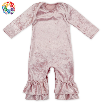 b2400ad6d8d 2017 Autumn Winter Newborn Infant Baby Girl Long Sleeve Solid Pink Velvet  Clothes Jumpsuit Rompers Playsuit