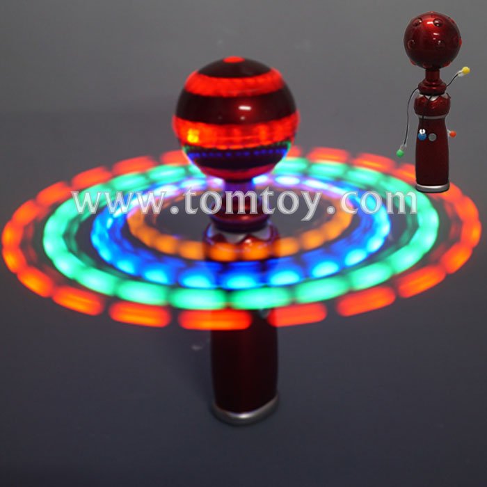 LED Light up Spinning Disco Ball Wand Spinner Toy