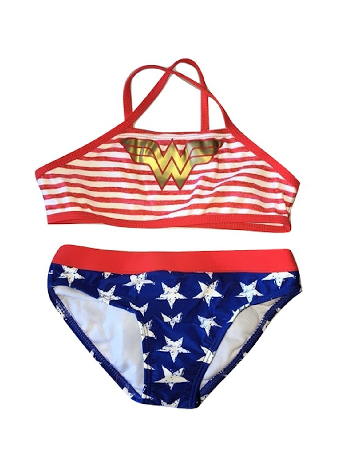 149b773a05756 Get Quotations · In Gear Girls Sporty Two Piece Bikini Swimsuit Wonder  Woman Sizes 4 to 8 Years