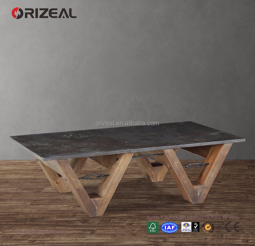 Industrial Living room Furniture Home Goods Wood Base Stone Coffee Table