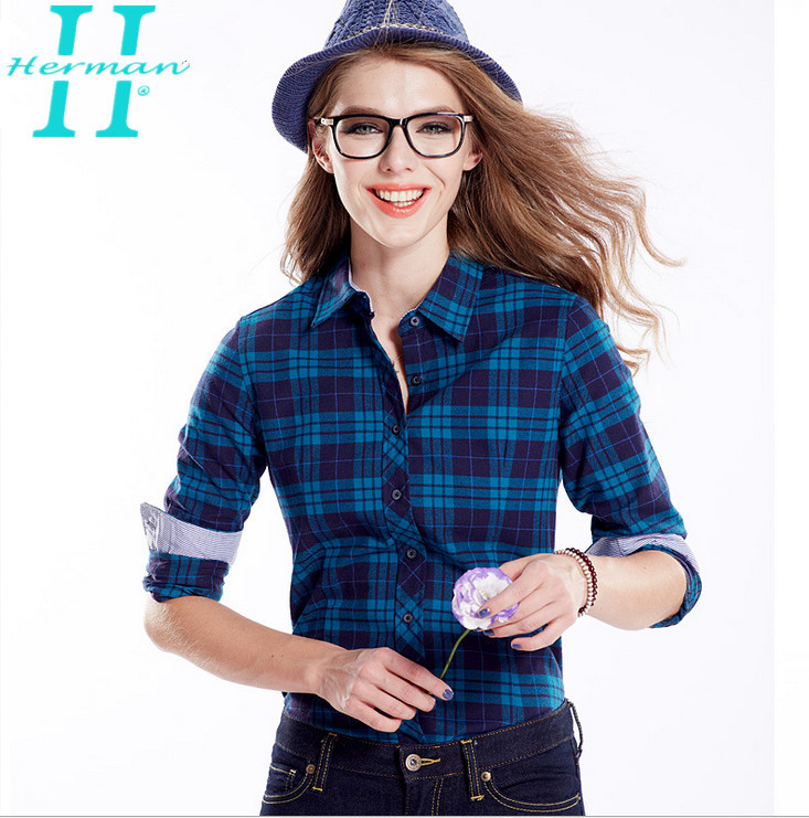 7dc12fbb7e6 Get Quotations · 2015 Women Blue And Red Black Plaid Flannel Shirts New  Arrival Ladies Casual Long Sleeve Top