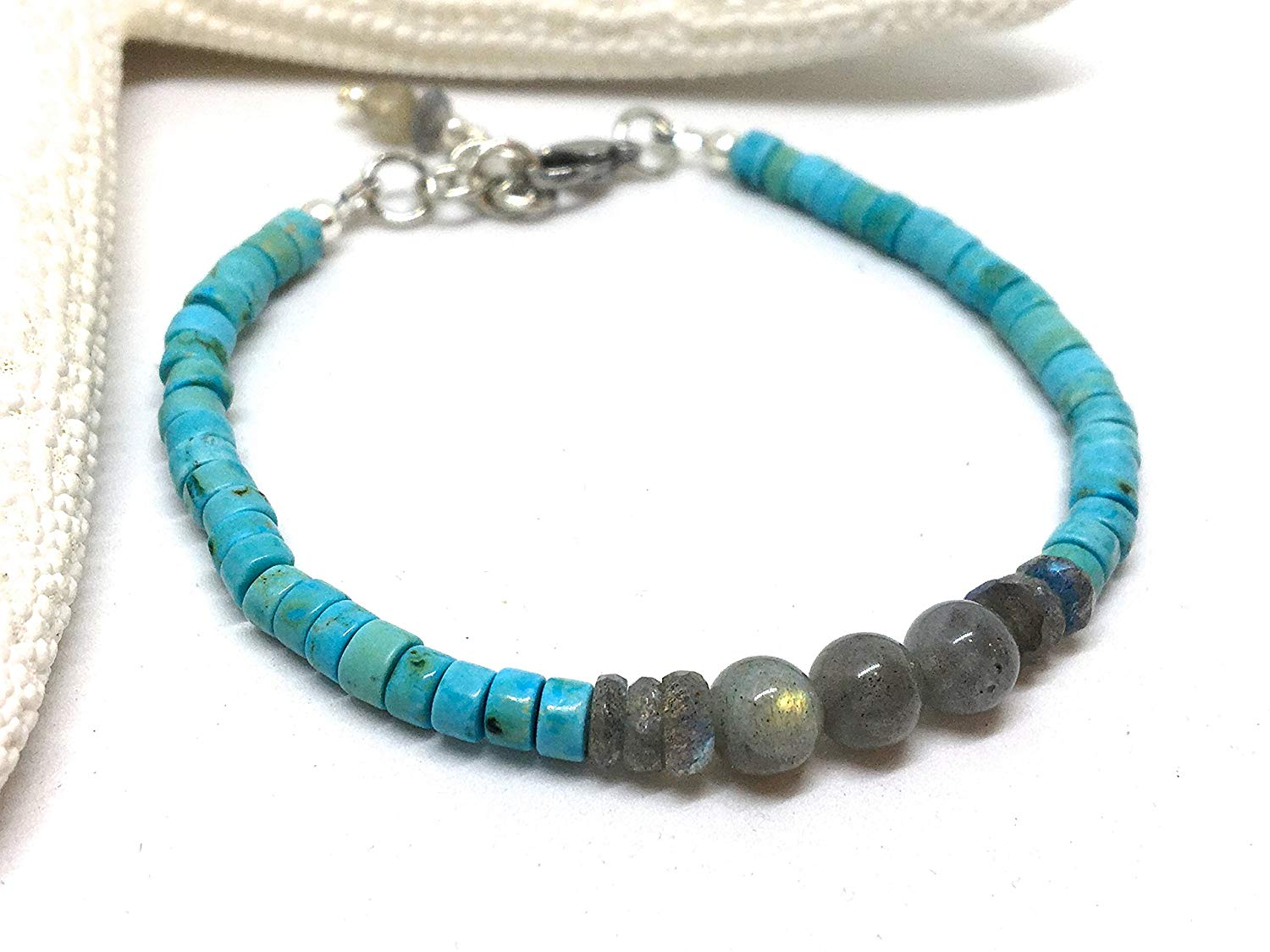 Turquoise Heshi Bracelet, Labradorite Bracelet, Beaded Bracelet, Boho jewelry, Turquoise Jewelry, Stacking Bracelet, Gifts for Her, Gemstone