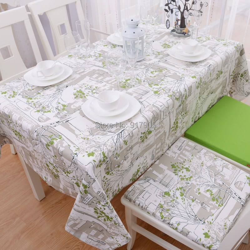 50 Cool And Creative Shabby Chic Dining Rooms: 2014 New European Country Style Green Trees Print