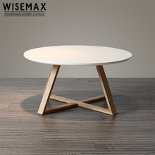 Scandinavian round solid oak wood coffee table small white end table with white MDF top
