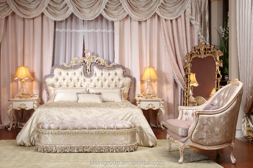 Royal Luxury Italian Purple And Gold Tufted Round Bed Bf11